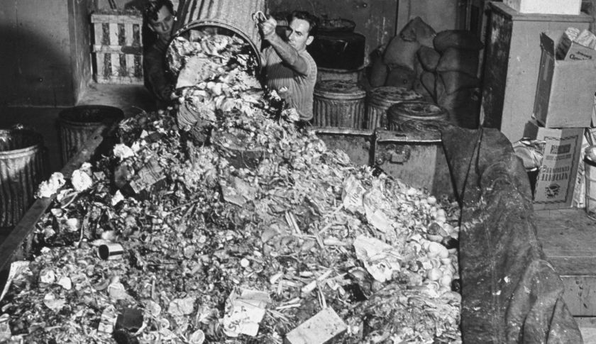 A trashman collecting the garbage in Radio City. (Photo by Bernard Hoffman/The LIFE Picture Collection/Getty Images)